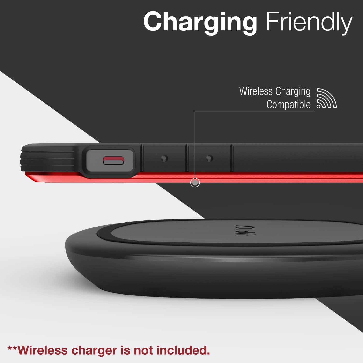 Infographic showing an iPhone 12 in a Red Raptic Shield case with wireless charging compatibility with all chargers