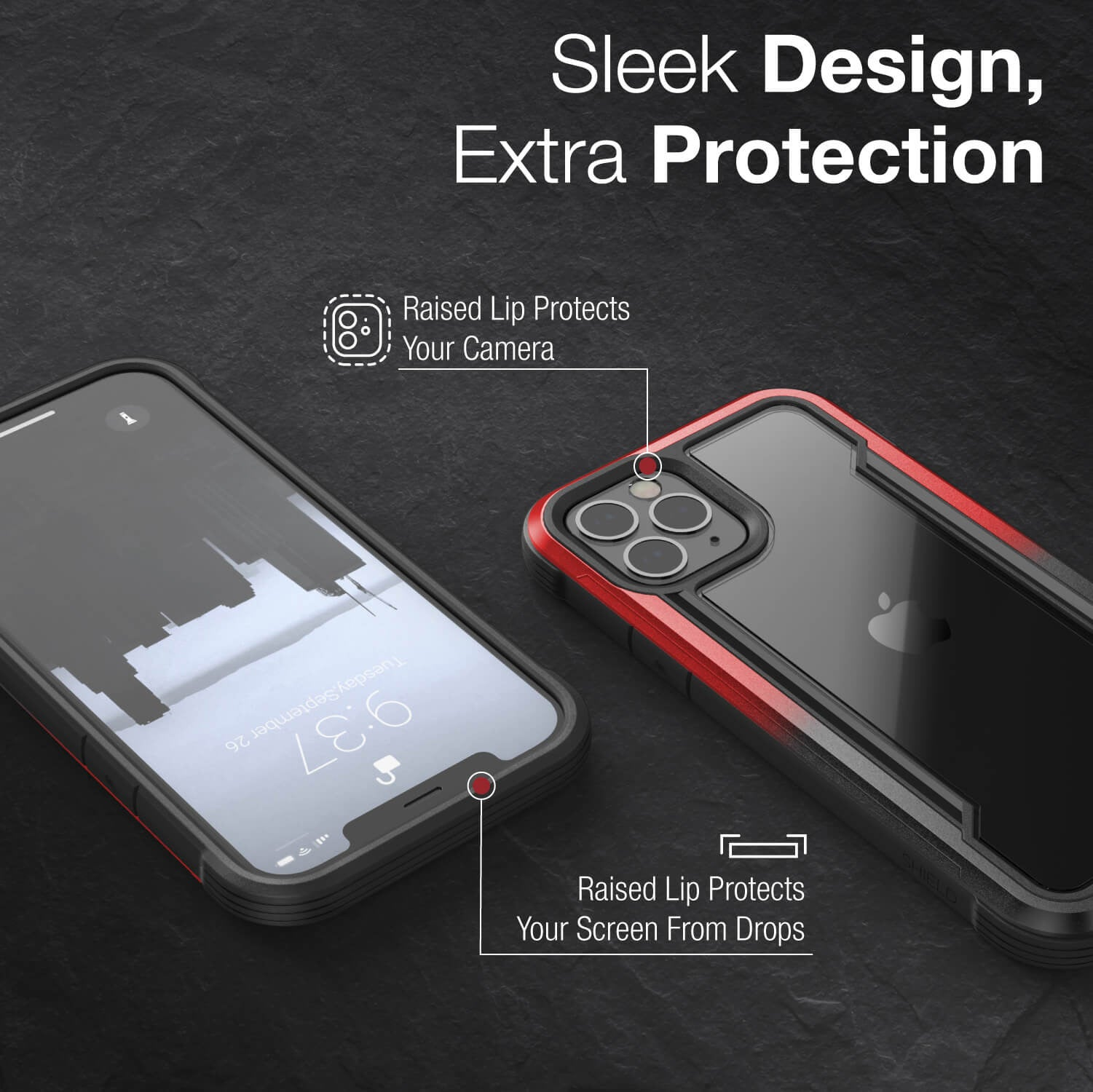 Infographic showing an iPhone 12 in a Black Red Gradient Raptic Shield Case with sleek designs and extra protection. Has minimal bulk.