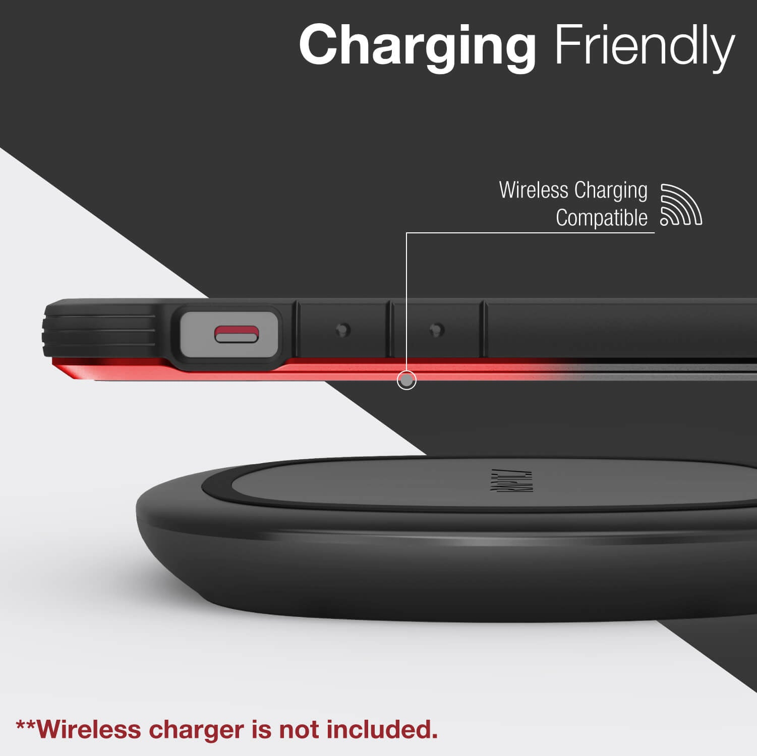 Inforgraphic showing an iPhone 12 in a Black Red Gradient Raptic Shield with wireless charging compatibility.