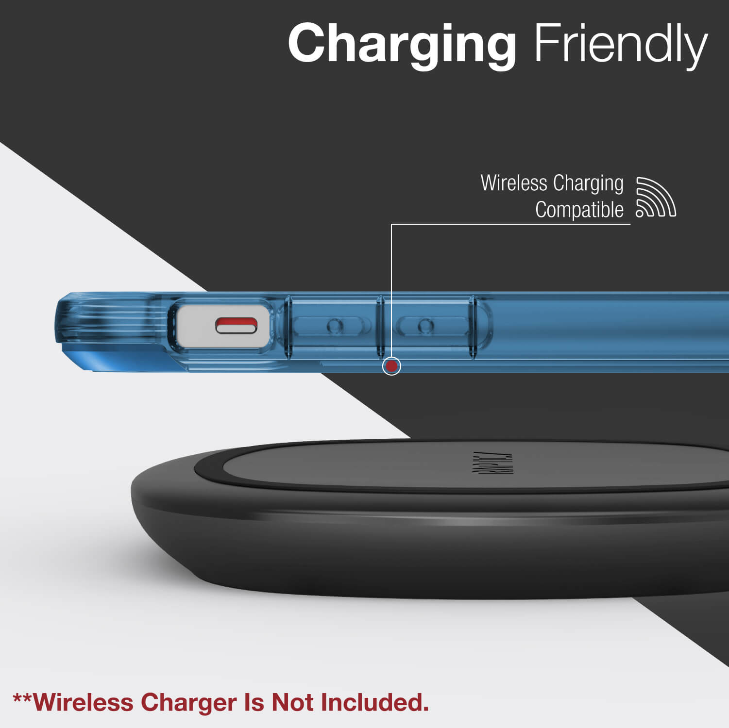 An infographic showing an iPhone 12 Pro wireless charging while encased in a Raptic Air case