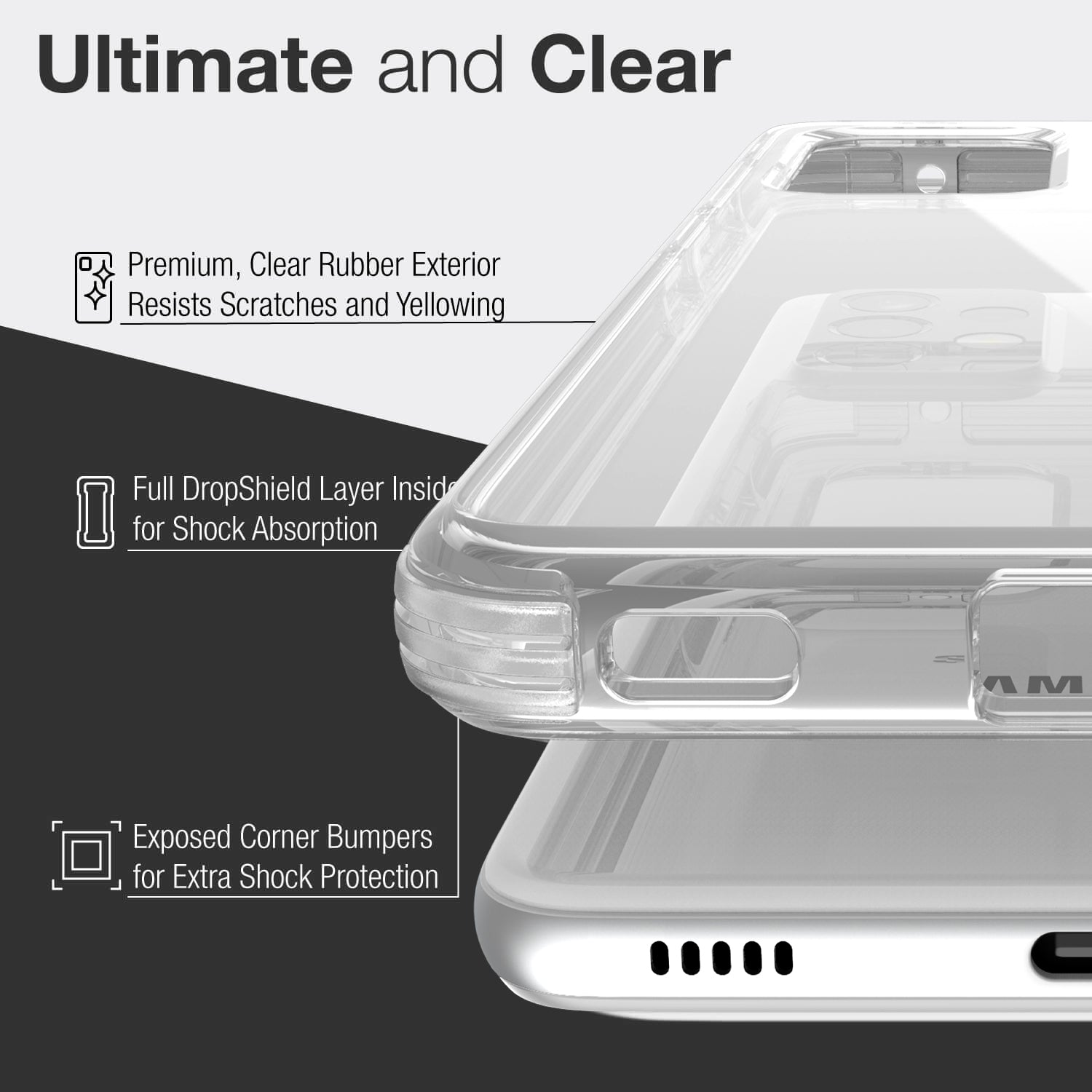 Showing a Samsung Galaxy A52 in a Raptic Clear case with 2 metre drop protection