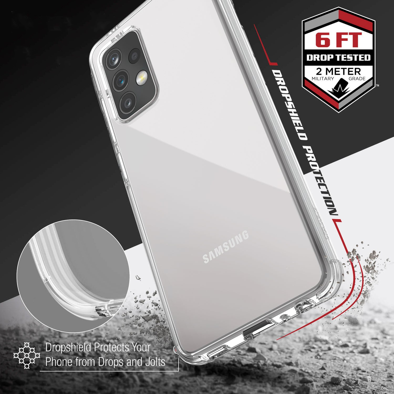 Showing the back of a Samsung Galaxy A52 in a Raptic Clear case with 2 metre drop protection