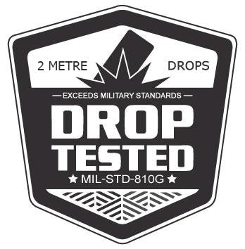 Drop tested to survive 6.6' (2m) drops on concrete
