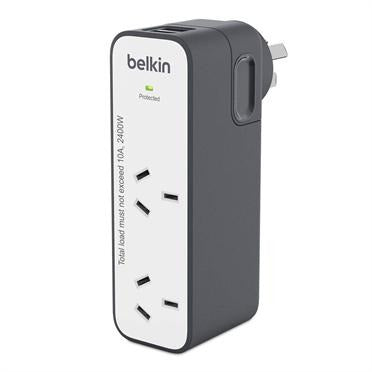 Belkin SurgePlus 2 Outlet USB Travel Charger Grey & White