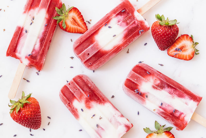 Lavender Strawberry Popsicles