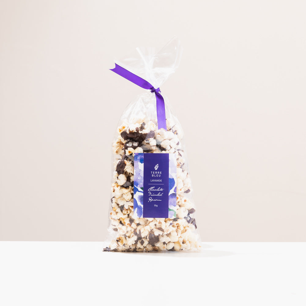 Lavender Chocolate Drizzled Popcorn