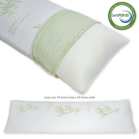 Image of Hotel Comfort Large Body Pillow Memory Foam Hypoallergenic Ultra Comfort During Pregnancy for Relaxation Support