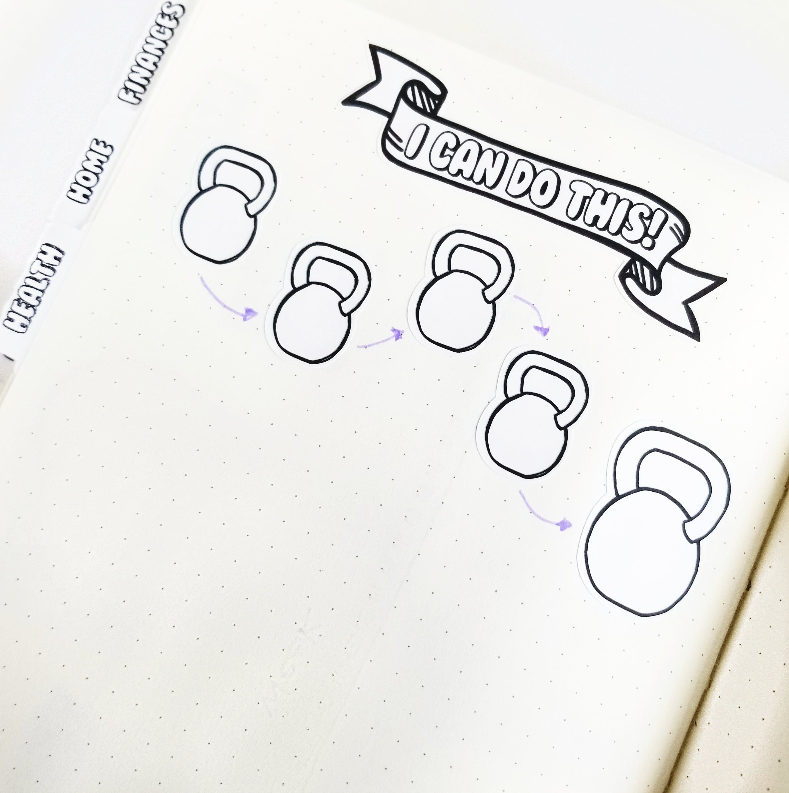 KETTLE BELL TRACKER  Planner Stickers |  Hand Drawn