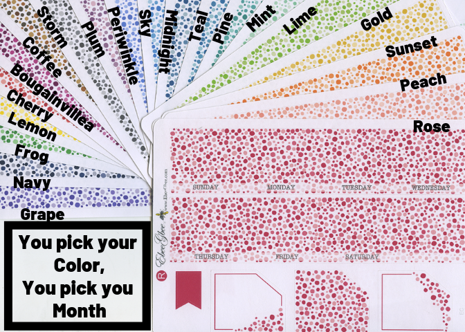 RAINBOW DOT MONTHLY Layout Planner Stickers  | You Pick Your Month You Pick Your Color | All Colors Available