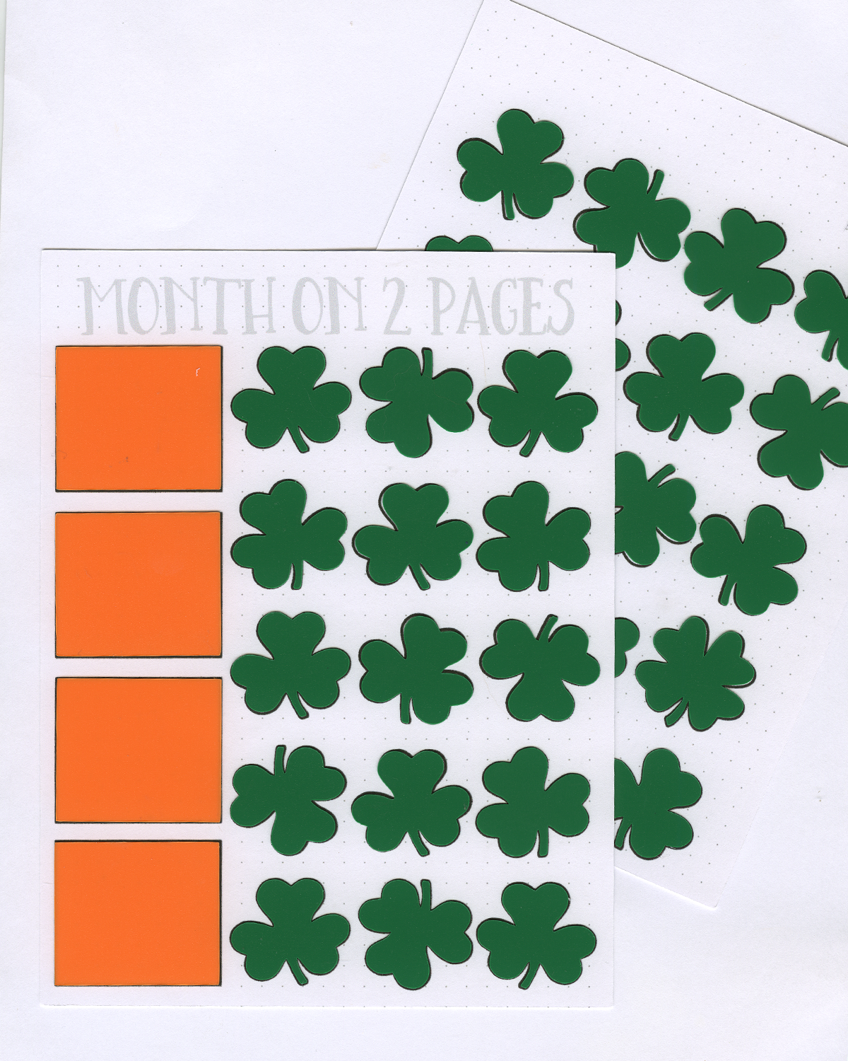 SHAMROCK Month on 2 Pages STENCIL MASK