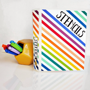 STENCIL ALBUM || Rainbow Stripe || 60 Clear Pocket 5.75x7.5 Sleeves