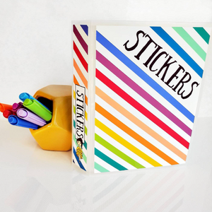 STICKER ALBUM || Rainbow Stripe || 60 Clear Pocket 5x7 Sleeves
