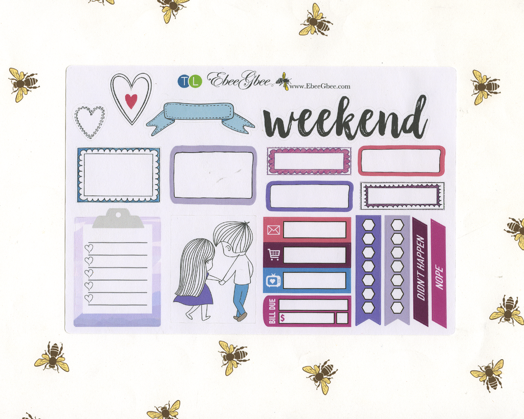 SWEETHEART SAMPLER Weekly Planner Sticker Set | Rose Bougainvillea Grape Sky