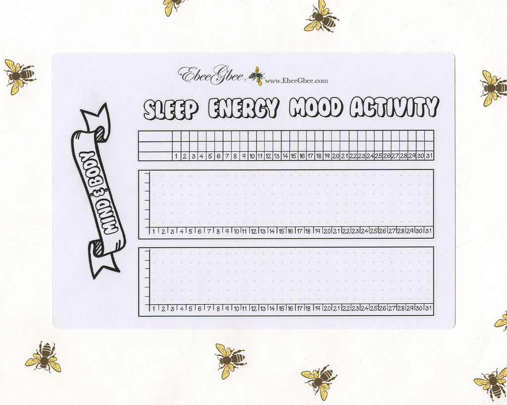 BODY & MIND TRACKER Planner Stickers |  Hand Drawn