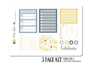 CELEBRATE (NYE) MONTHLY Layout Planner Stickers | You Pick Your Month | Storm Gold