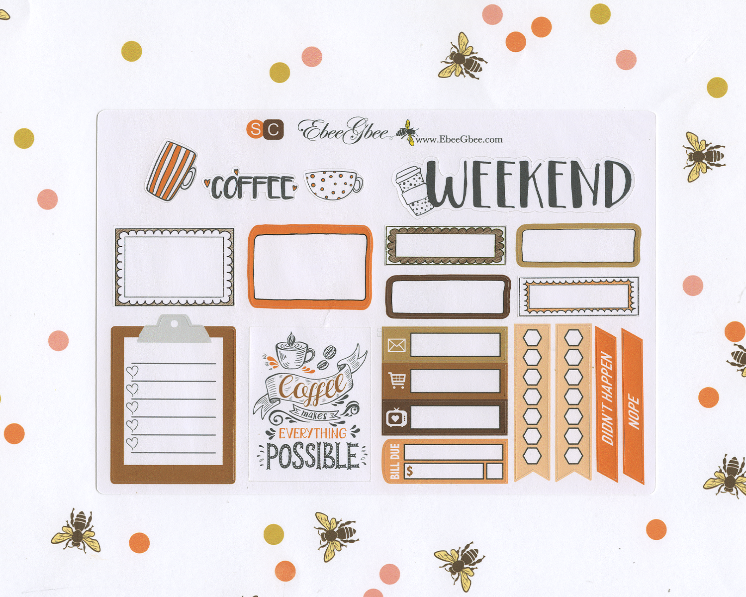 COZY COFFEE SAMPLER Weekly Planner Sticker Set | Sunset Coffee