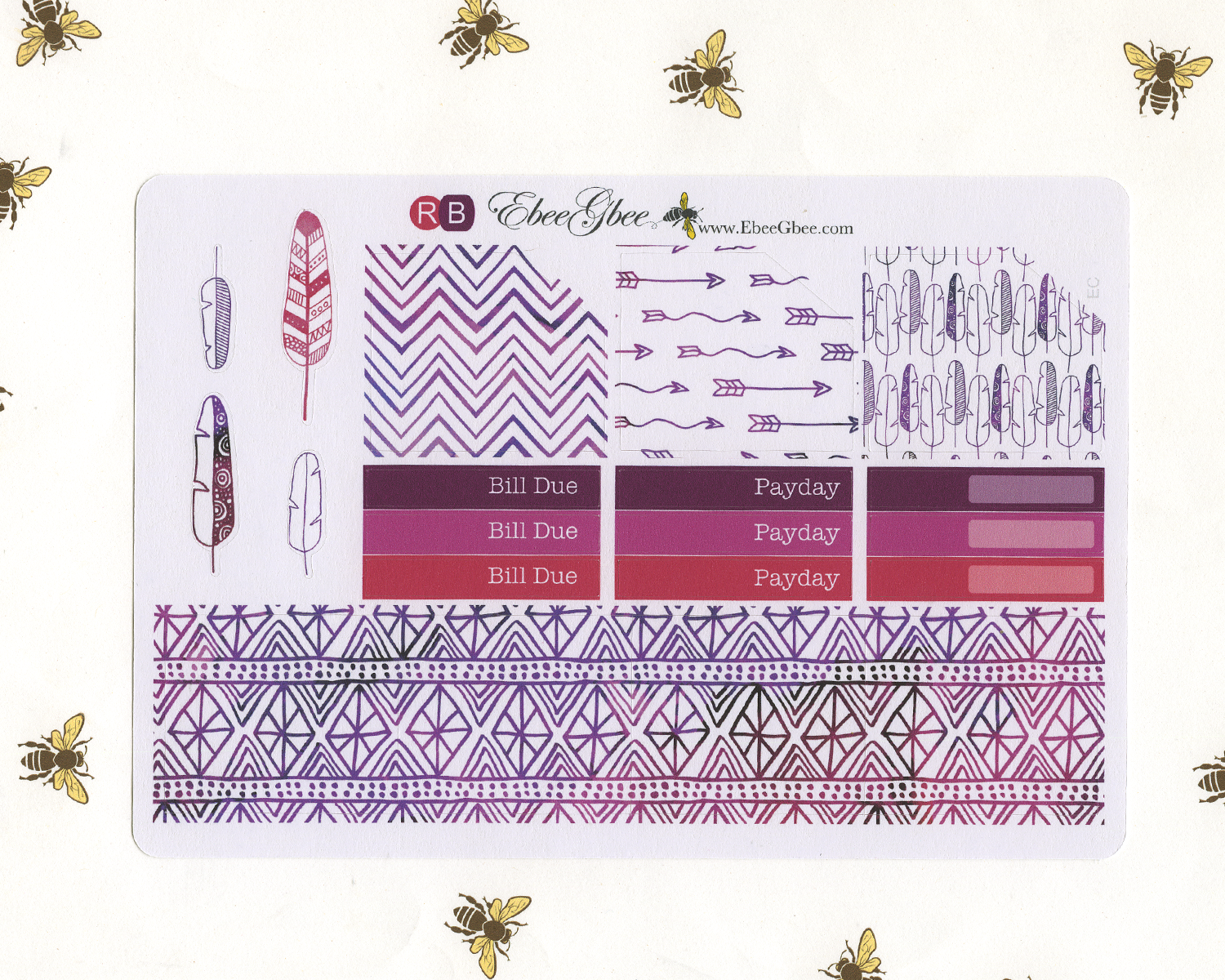 FEATHER MONTHLY Layout Planner Stickers | You Pick Your Month | Rose Bougainvillea