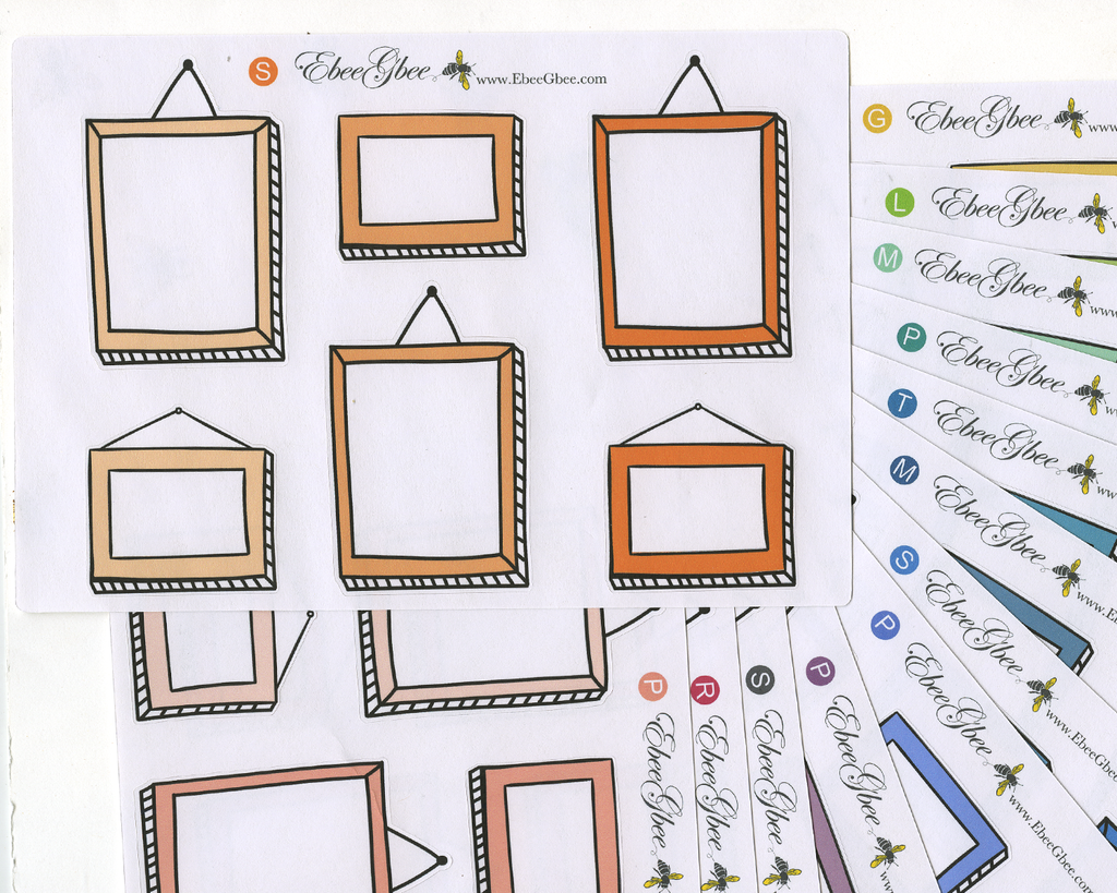 PICTURE FRAME LARGE BOXES Planner Stickers | All Colors Available