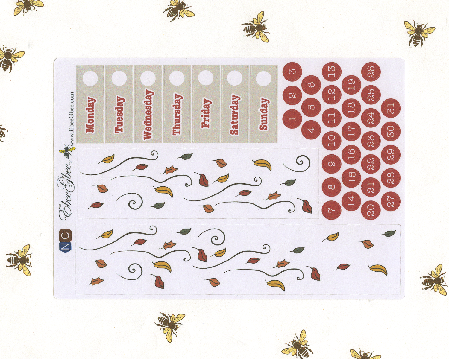 A LA CART HELLO FALL Weekly Planner Sticker Set | NAVY COFFEE