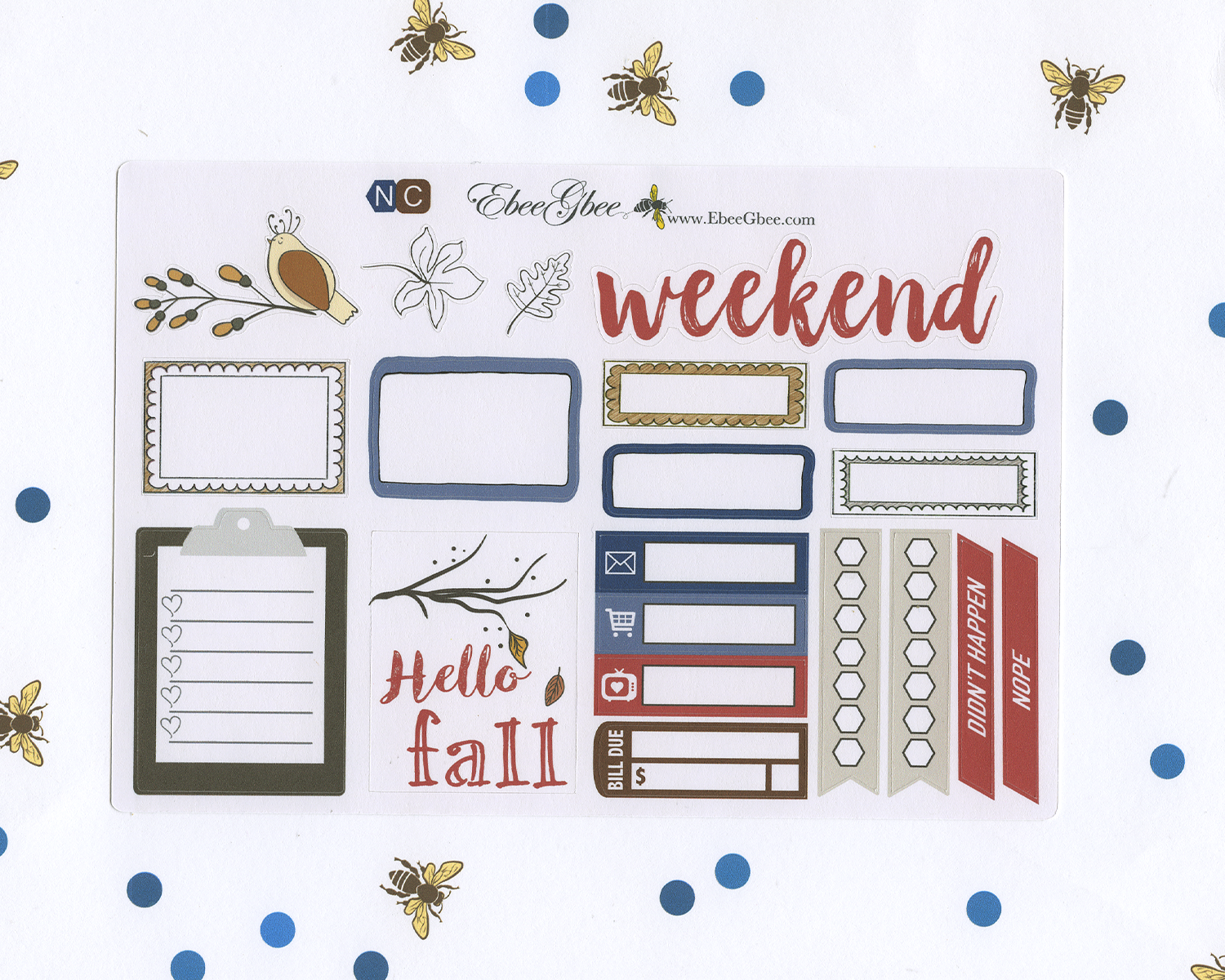 HELLO FALL SAMPLER Weekly Planner Sticker Set | Navy Coffee