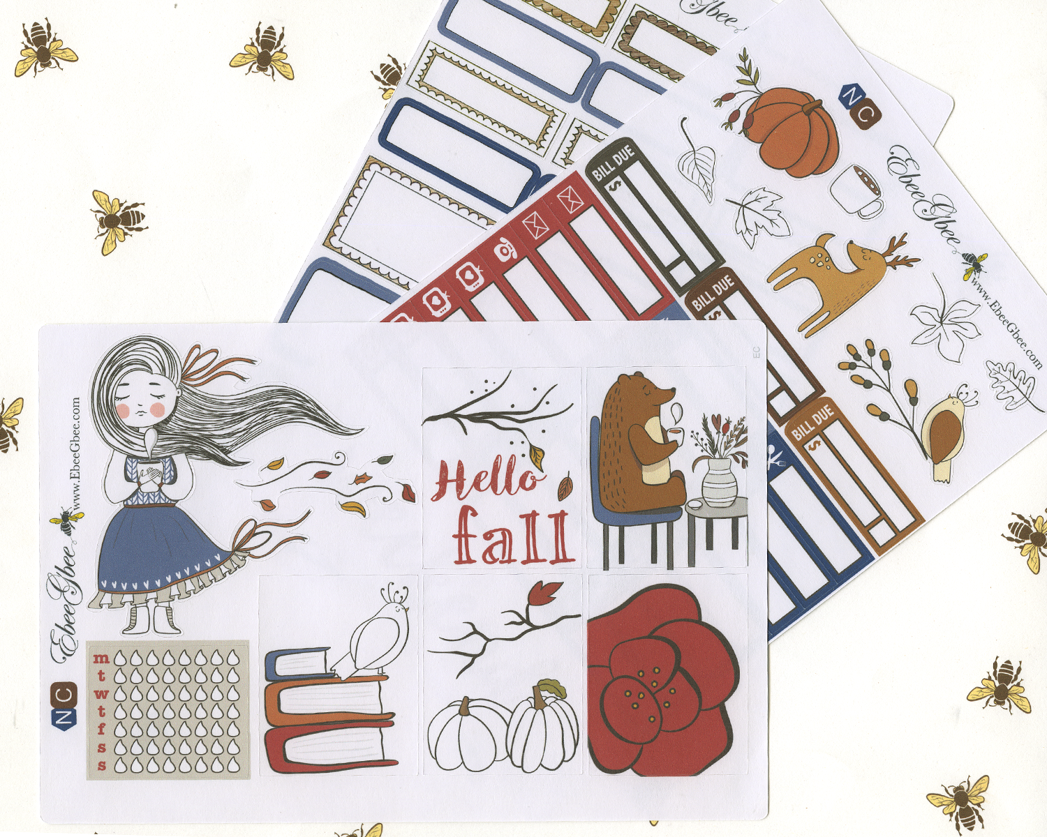 HELLO FALL WEEKLY Planner Sticker Set | COFFEE NAVY