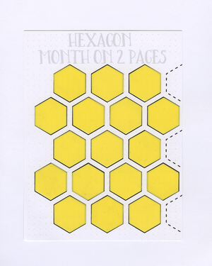 HEXAGON MONTH ON 2 PAGES STENCIL MASK
