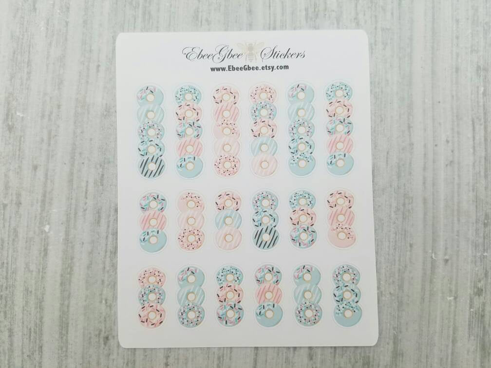 DONUT LIST FLAG  Planner Stickers | Peach Rose Mint Pine