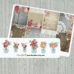 FULL BOX Shabby Chic Planner Stickers with Bonus Flowers in Jars | Rose Gold Storm