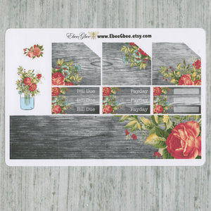 SHABBY CHIC MONTHLY Layout Planner Stickers | You Pick Your Month  | Rose Gold Storm