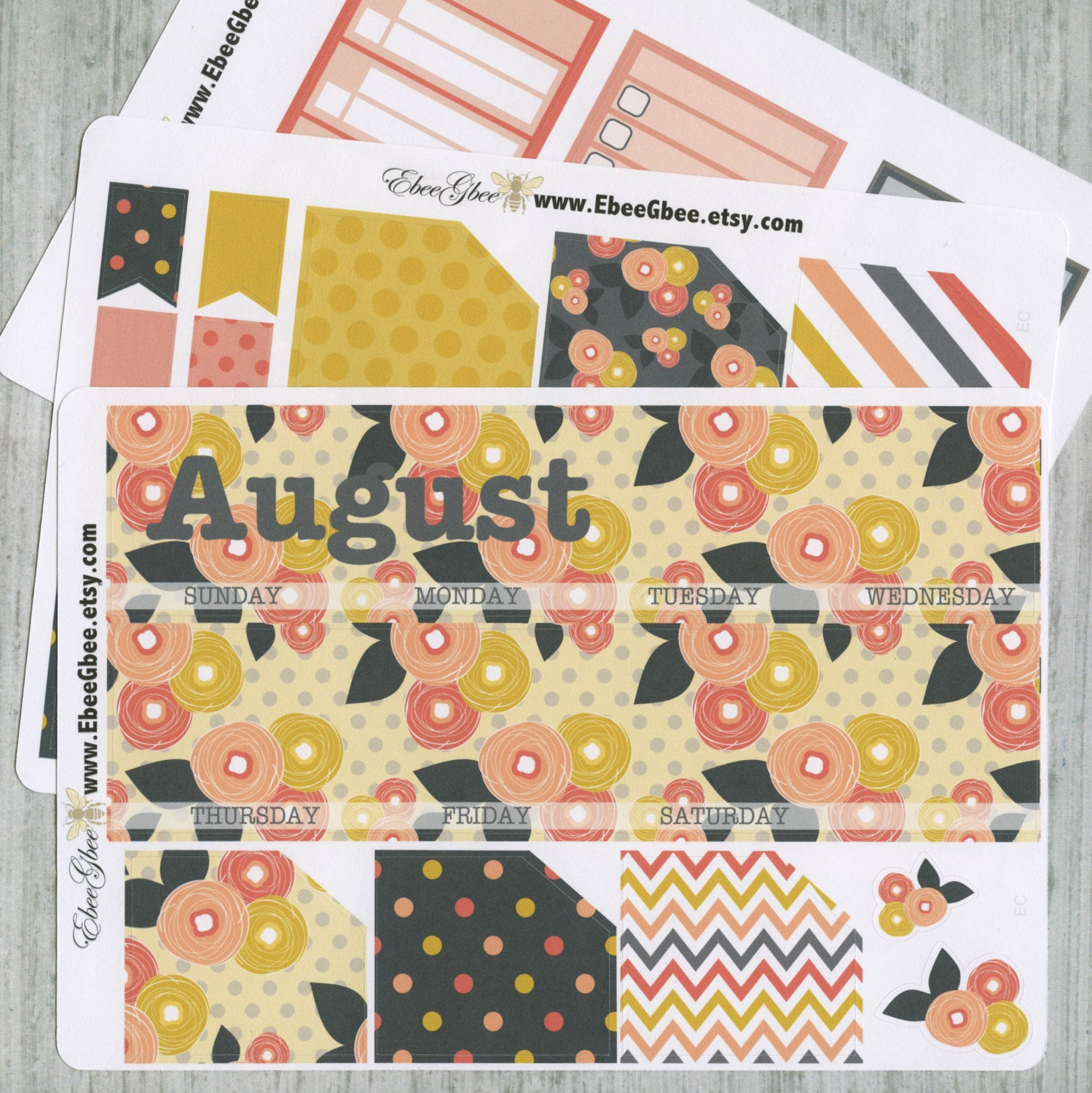 MOD FLORAL MONTHLY Layout Planner Stickers | You Pick Your Month | Gold Storm Peach