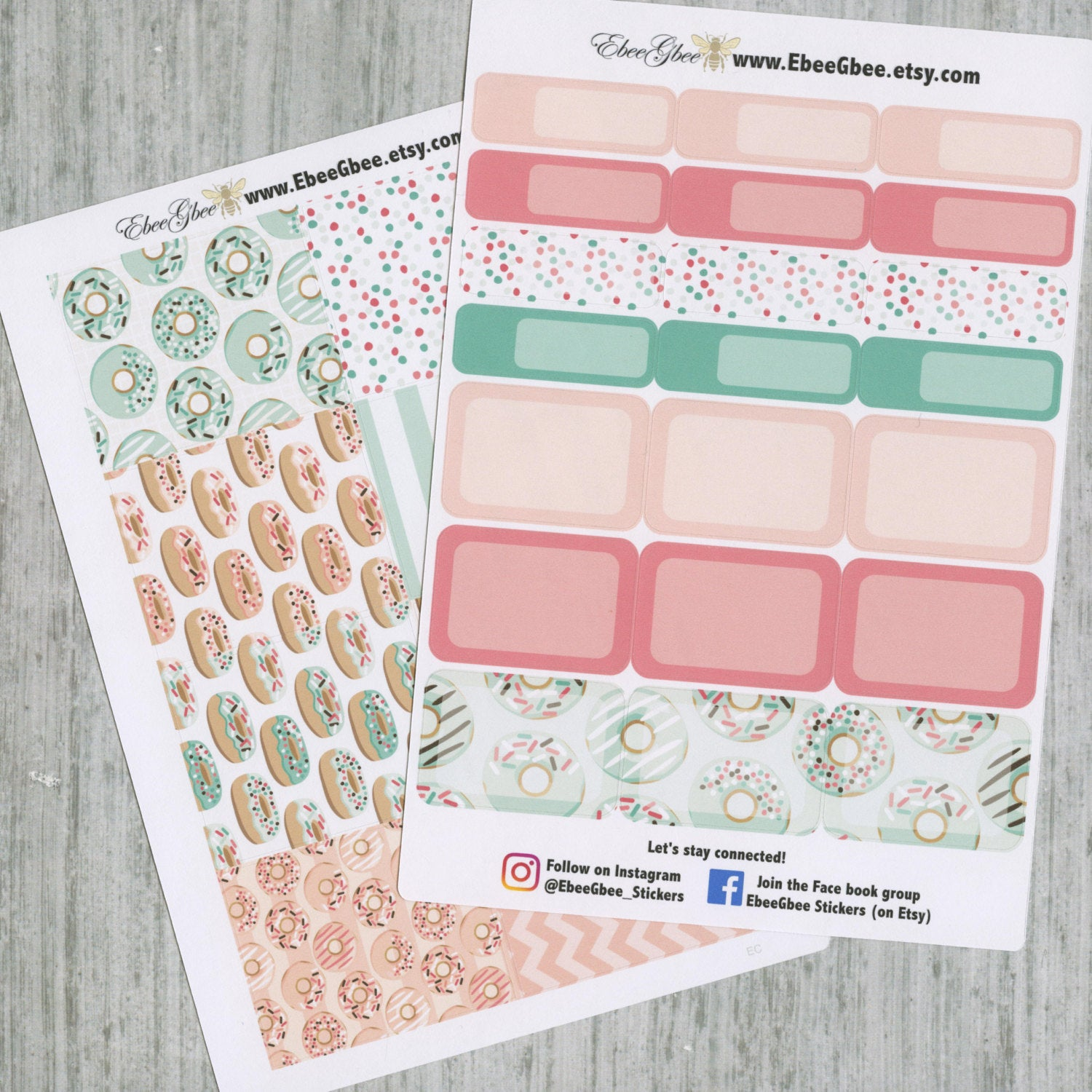 DONUTS DELUXE Weekly Planner Sticker Set | Mint Peach Rose Pine