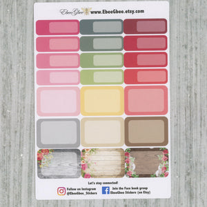 SHABBY CHIC WEEKLY Planner Sticker Set | Rose Storm Gold