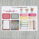 SHABBY CHIC SAMPLER Weekly Planner Sticker Set | Rose Storm Gold