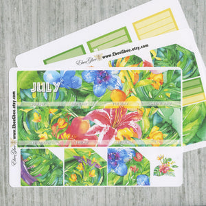 TROPICAL FLORAL Monthly Layout Stickers | You Pick Your Month