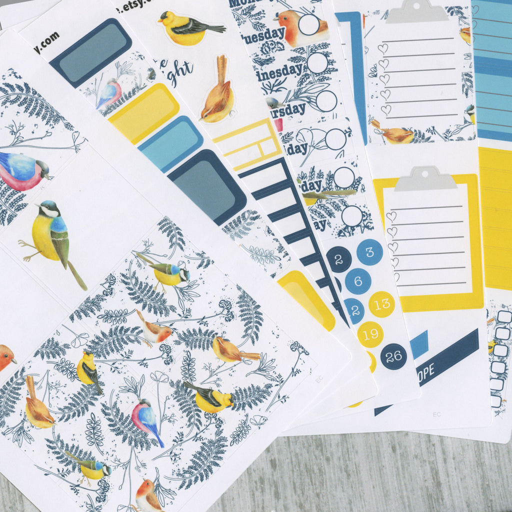 A LA CART Little Bird Weekly Planner Sticker Sheets | Teal Midnight Lemon