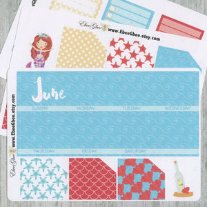 MERMAID MONTHLY Layout Planner Stickers | You Pick Your Month