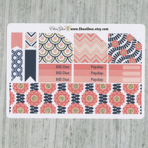 PINK & NAVY Floral  MONTHLY Layout Planner Stickers | You Pick Your Month | Navy