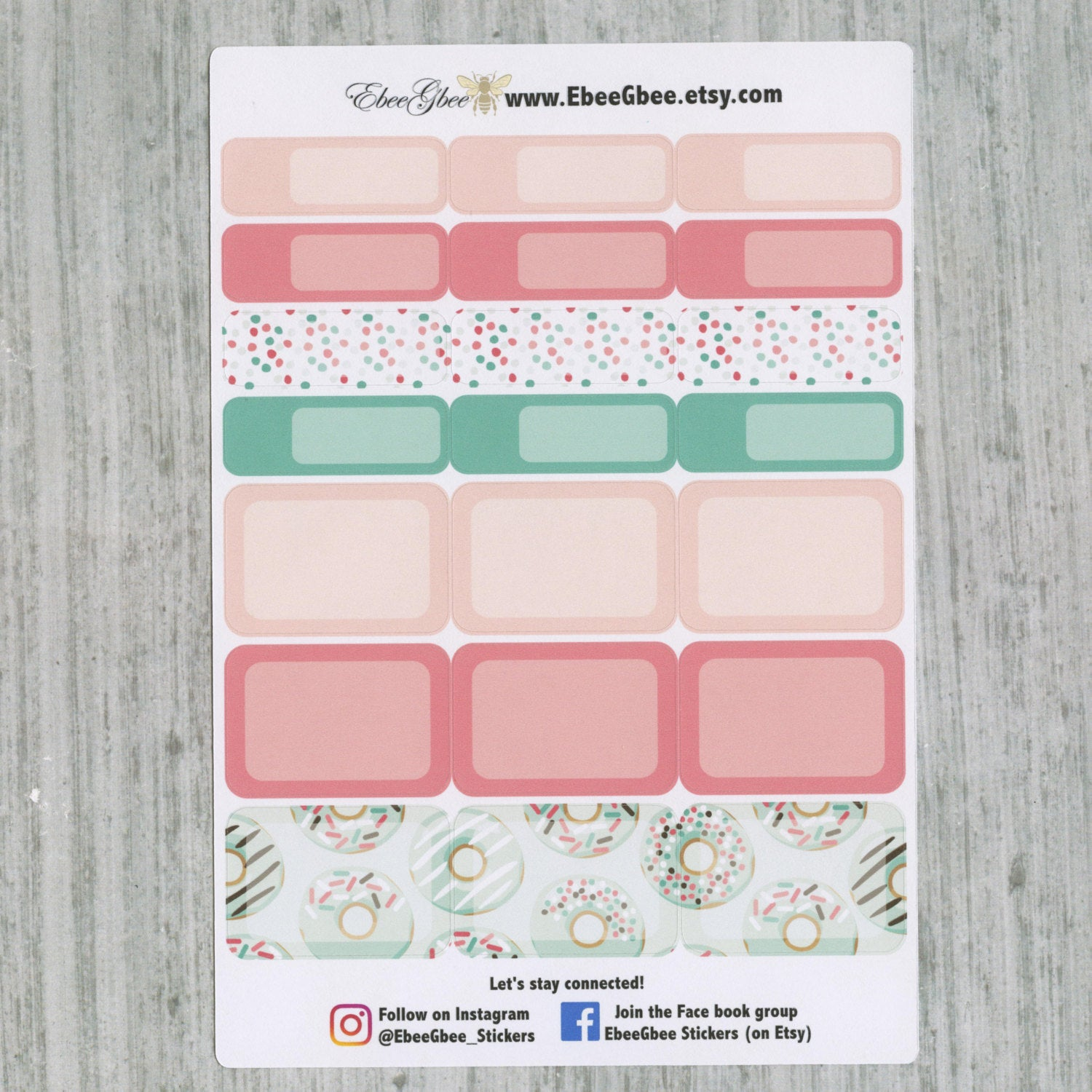 A LA CART Donuts Weekly Planner Sticker Sheets | Mint Peach Pine Rose