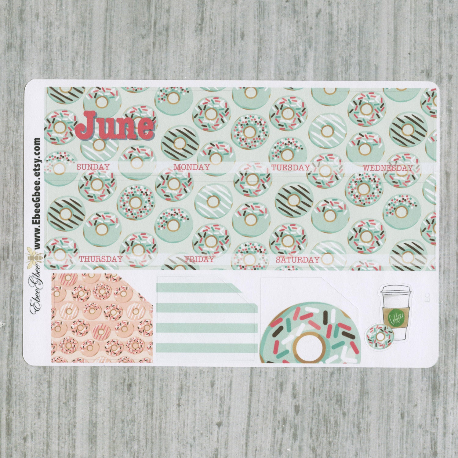 DONUTS MONTHLY Layout Planner Stickers | You Pick Your Month | Mint Pine Peach Rose