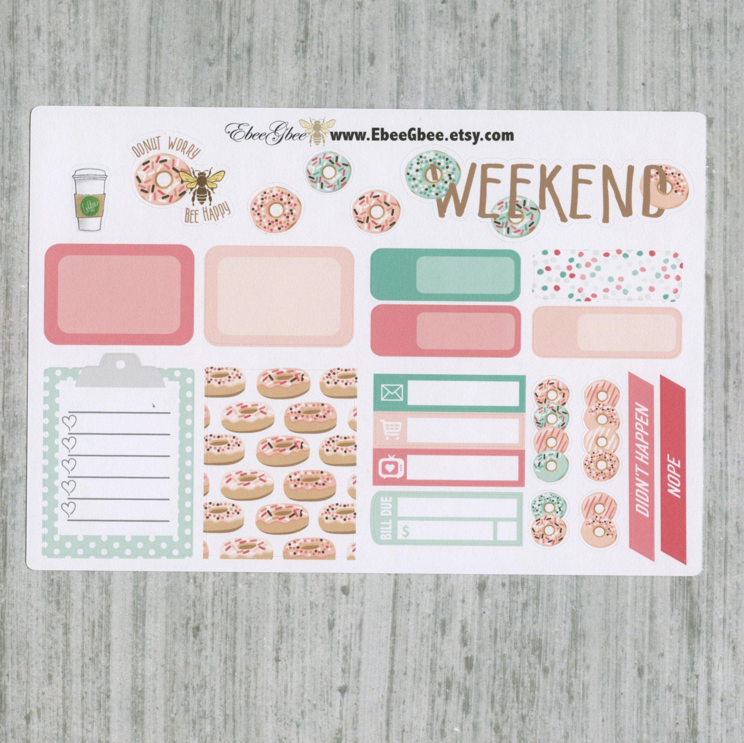 DONUT SAMPLER Weekly Planner Sticker Set | Peach Rose Mint PIne