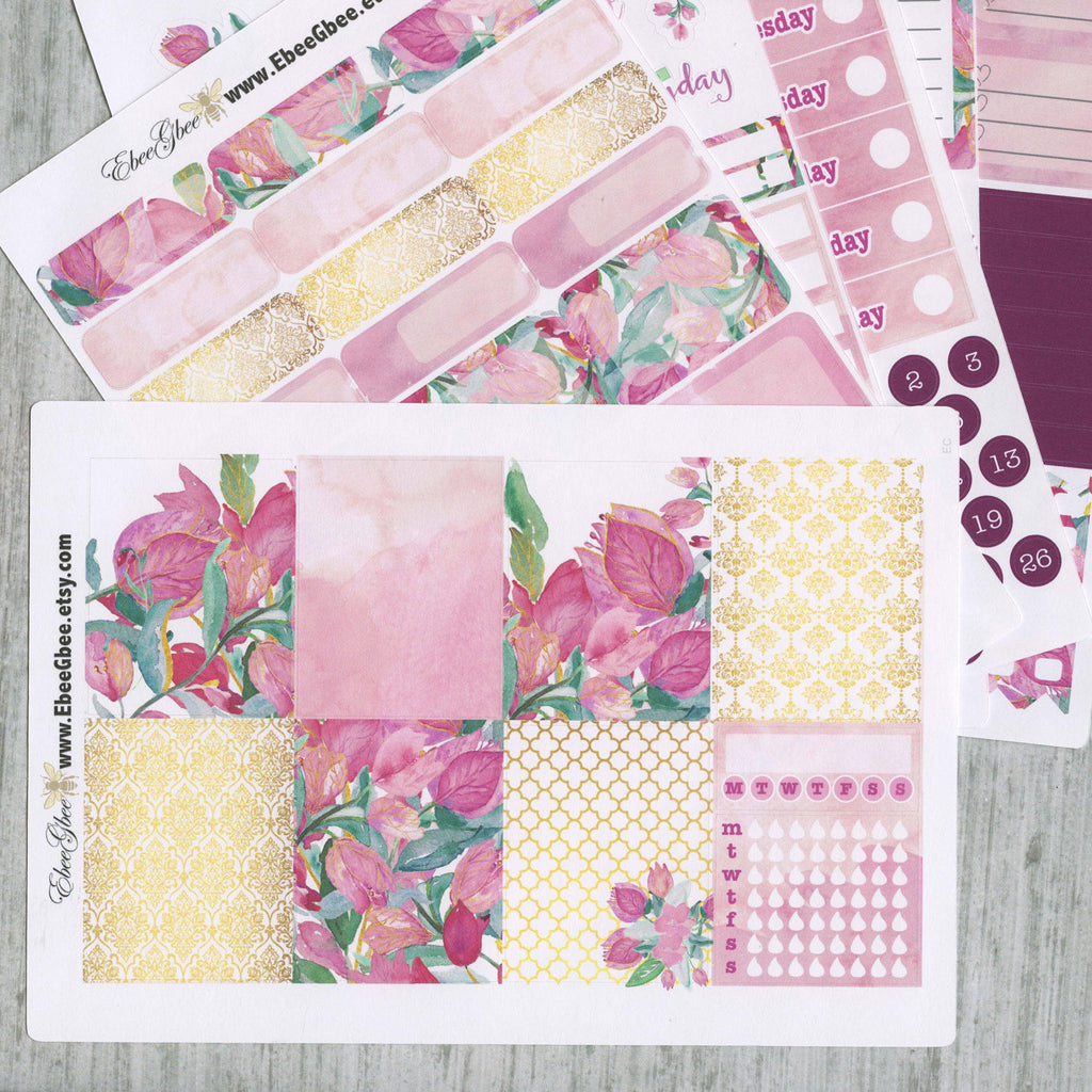 A LA CART Bougainvillea Weekly Planner Sticker Sheets | Bougainvillea Pine