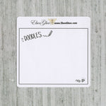 DOODLES set of 3 Hand Drawn Large Box Note Page Planner Stickers