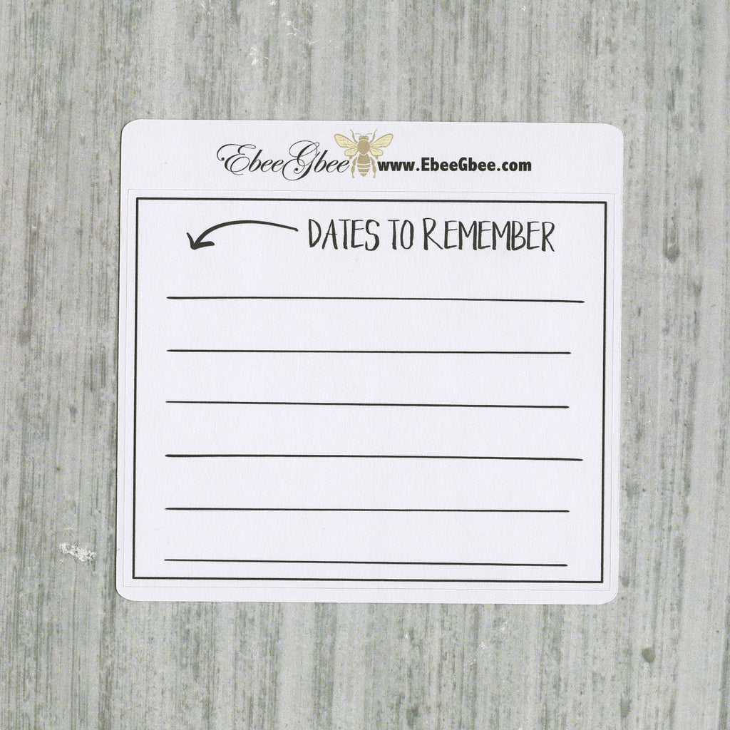 DATES TO REMEMBER set of 3 Hand Drawn Large Box Note Page Planner Stickers