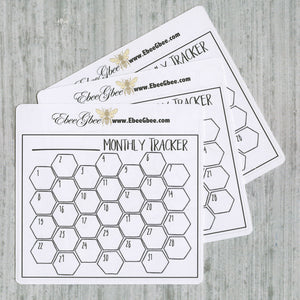MONTHLY TRACKER set of 3 Hand Drawn Large Box Note Page Planner Stickers