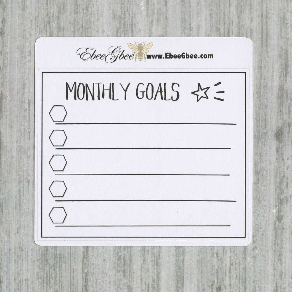 GOALS set of 3 Hand Drawn Large Box Note Page Planner Stickers