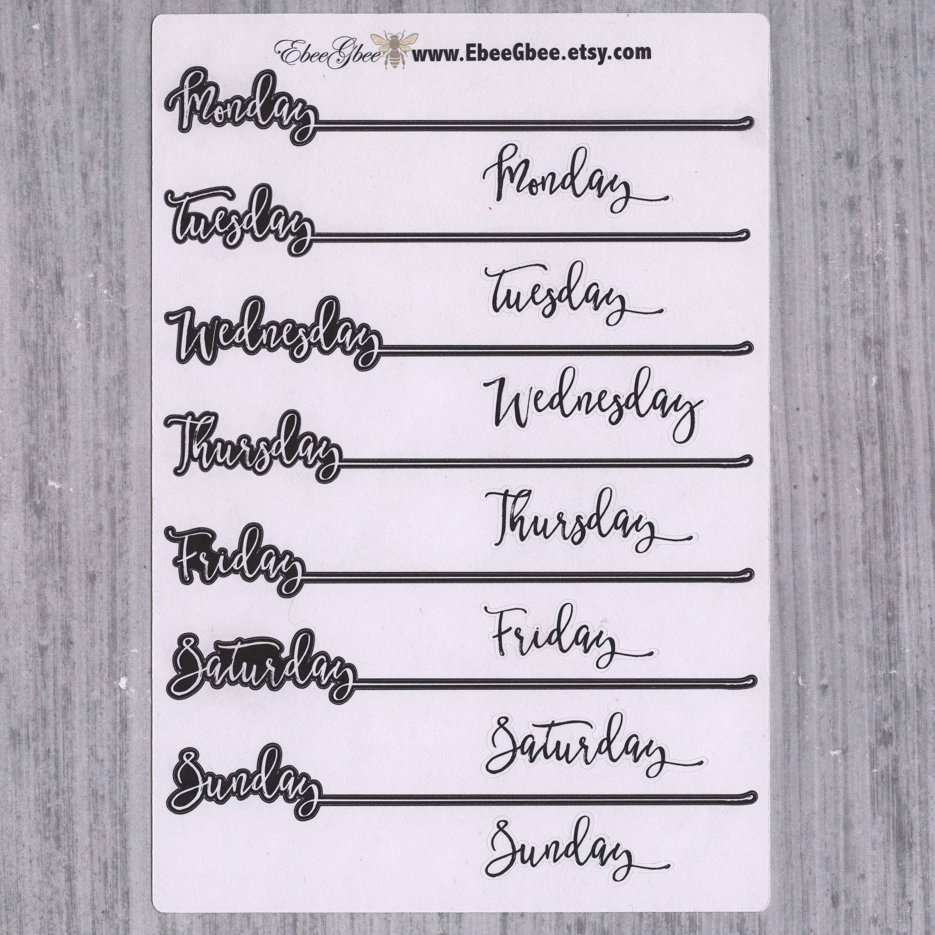 B&W WEEKDAY HEADERS  Planner Stickers | Hand Drawn Bullet Journal (BuJo) Style