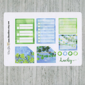 LUCKY MONTHLY Layout Planner Stickers | You Pick Your Month | Lime Frog Periwinkle