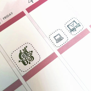DASHED ICON BOXPlanner Stickers | Perfect for Stamping