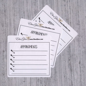 APPOINTMENTS set of 3 Hand Drawn Large Box Note Page Planner Stickers