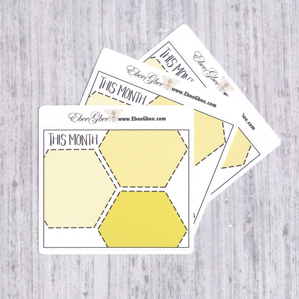 THIS MONTH set of 3 Hand Drawn Large Box Note Page Planner Stickers